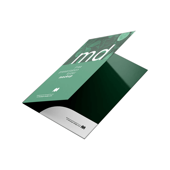 business folders with logo
